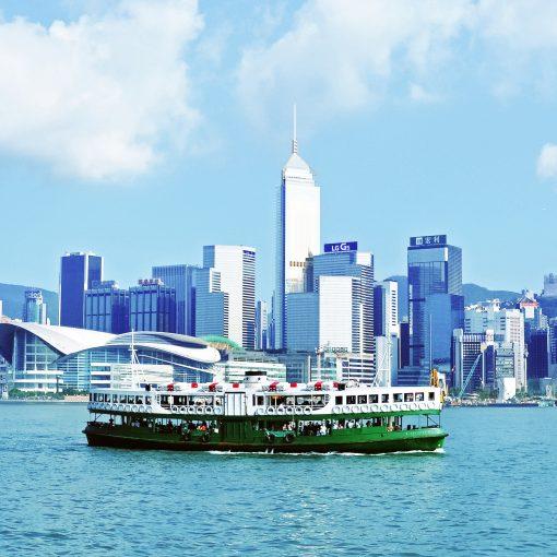 Riding Star ferry along the Wan Chai Harbour Skyline